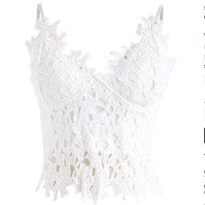 Flower Crochet Crop top in White
